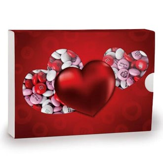 Red heart gift box with personalized M&M'S