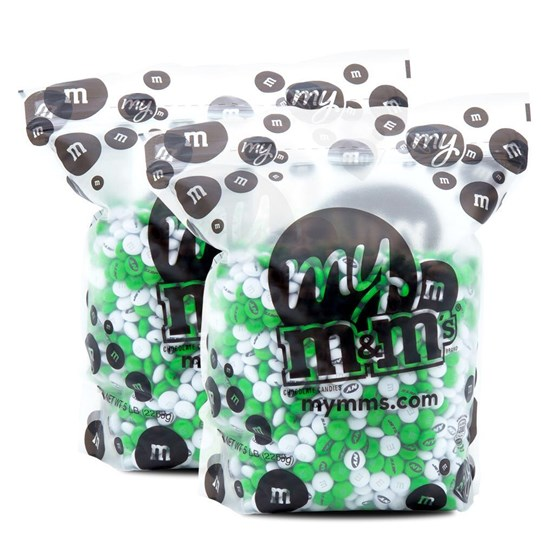 New York Jets NFL M&M'S Bulk Candy, Front View of Two 5lb Bulk Bags of Jets-themed M&M'S