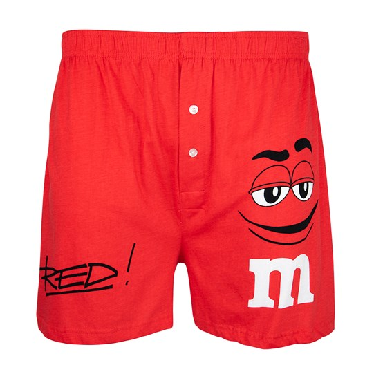M&M'S Character Big Face Lounge Shorts, Front View of Lounge Shorts Showing Buttons and M&M'S Character & Name