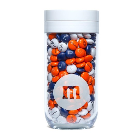 Denver Broncos NFL M&M'S Candy Gift Jar, Front View of Gift Jar