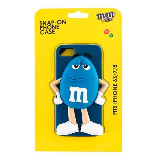 Blue M&M'S Character iPhone Case, Back View of Blue Silicone iPhone Case with Blue M&M'S Character, iPhone6s, 7 & 8 Inside Package