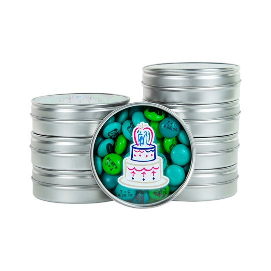 M&M'S Wedding Cake Favors - Silver favors with wedding cake design on top