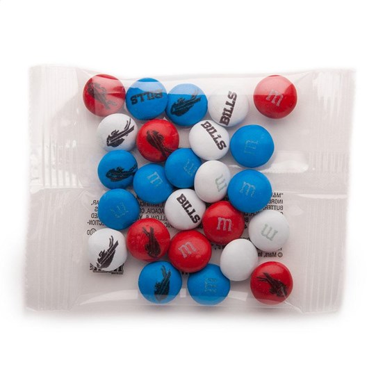 Buffalo Bills NFL M&M'S Party Favor Packs, Front View of 1 Party Favor Pack filled with Bills-themed M&M'S