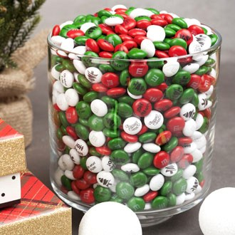 Personalized Christmas M&M'S candies in large clear bowl