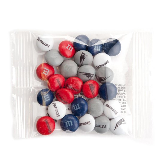 New England Patriots NFL Party Favor Packs, Front View of 1 Party Favor Pack Filled with Patriots-themed M&M'S