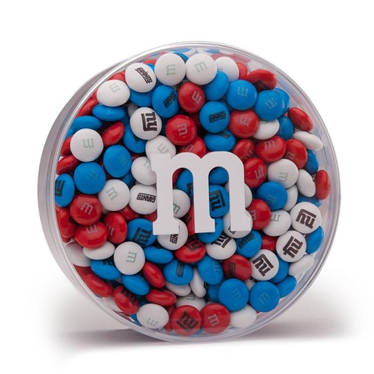 New York Giants NFL Round Gift Box - Red, white and blue M&M'S with Giants-themed clip-art.