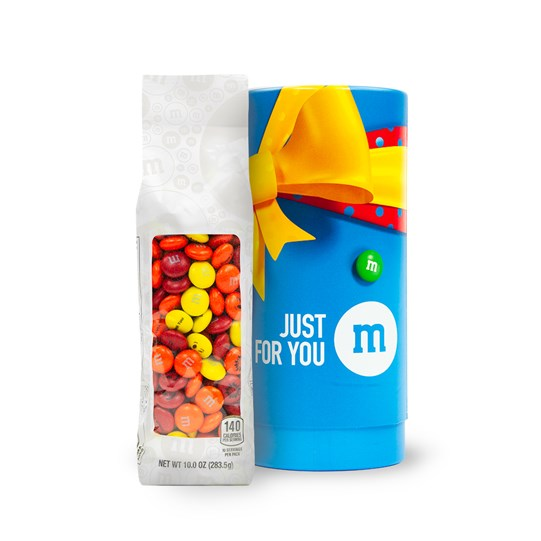 Personalizable M&M'S 10 oz Bag next to Just Because Gift Tube