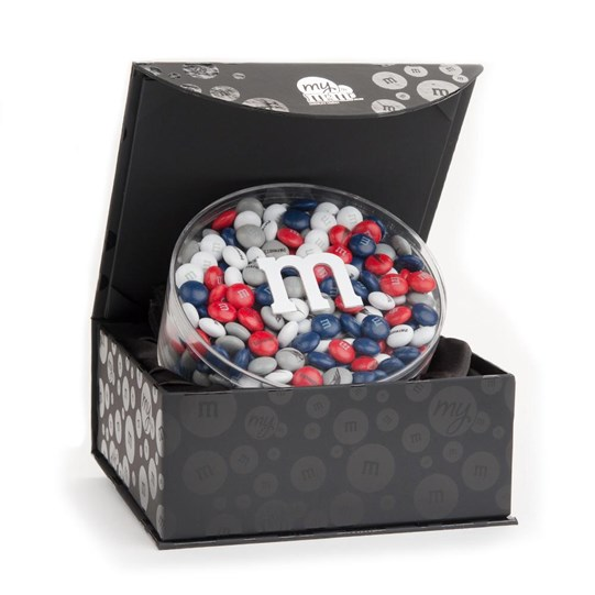 New England Patriots NFL Candy Acrylic in Black Gift Box - Patriots-themed M&M'S fill gift box.