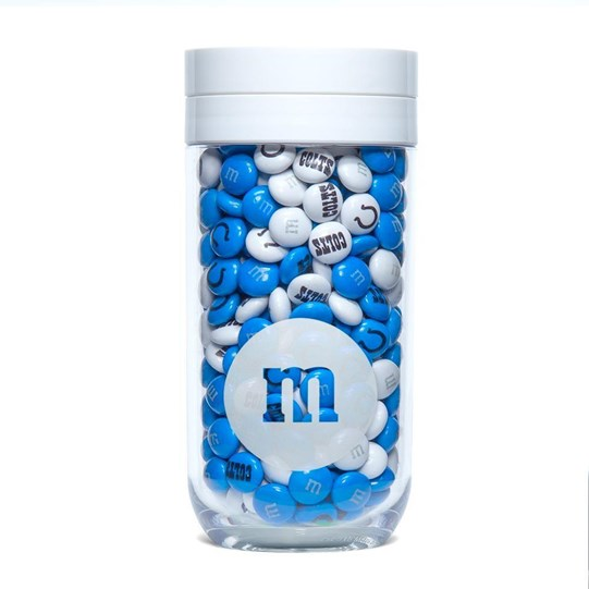 Indianapolis Colts NFL M&M'S Candy Gift Jar - Colts-themed M&M'S inside gift jar.