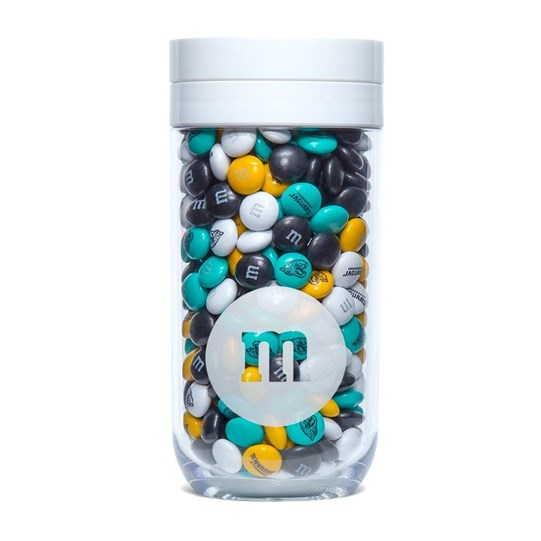 Jacksonville Jaguars NFL M&M'S Candy Gift Jar - Jaguars-themed M&M'S inside.