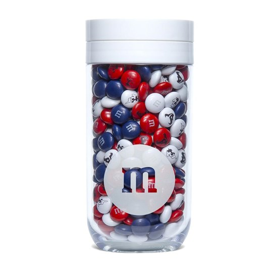 Houston Texans NFL M&M'S Candy Gift Jar - Texans-themed M&M'S inside clear gift jar.