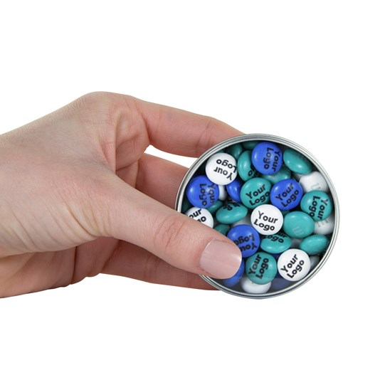 M&M'S Business Silver Favor Tins - Personalizable M&M'S candy - SCALE