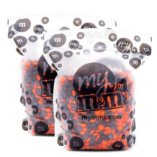 Cleveland Browns NFL M&M'S Bulk Candy, Front View of Two 5lb Bulk Bags of Browns-themed M&M'S