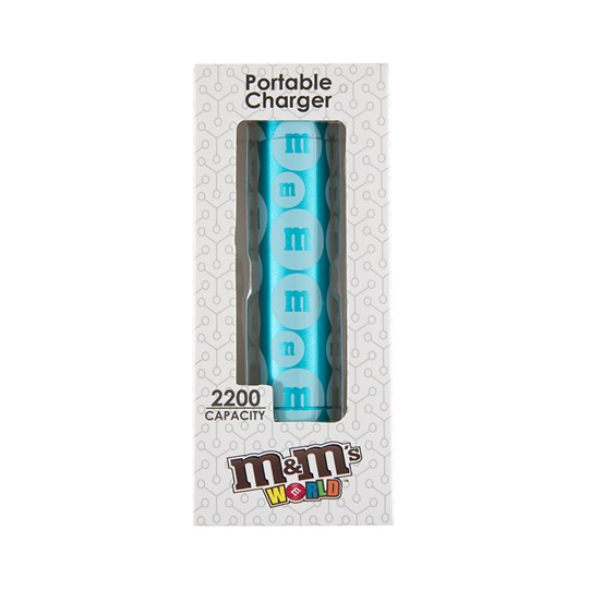"M&M'S Tube Power Bank, Front View of M&M'S Power Bank with ""m"" Logo Design Inside Packaging"