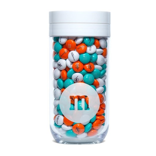 Miami Dolphins NFL M&M'S Candy Gift Jar - Dolphins-themed M&M'S inside clear gift jar.