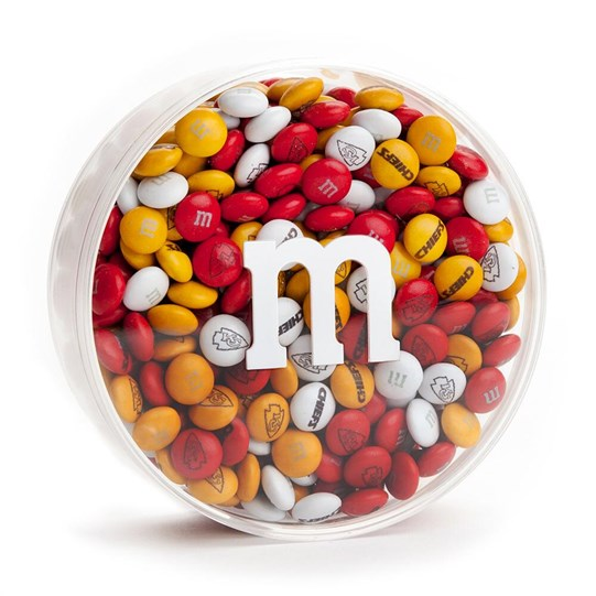 Kansas City Chiefs NFL M&M'S Round Gift Box - Chiefs-themed M&M'S inside clear gift box with 'm logo.