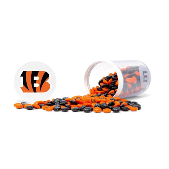 Cincinnati Bengals NFL M&M'S Candy Gift Jar, Alt View of Gift Jar on Side & Lid with Bengals Logo, spill of Bengals M&M'S in front
