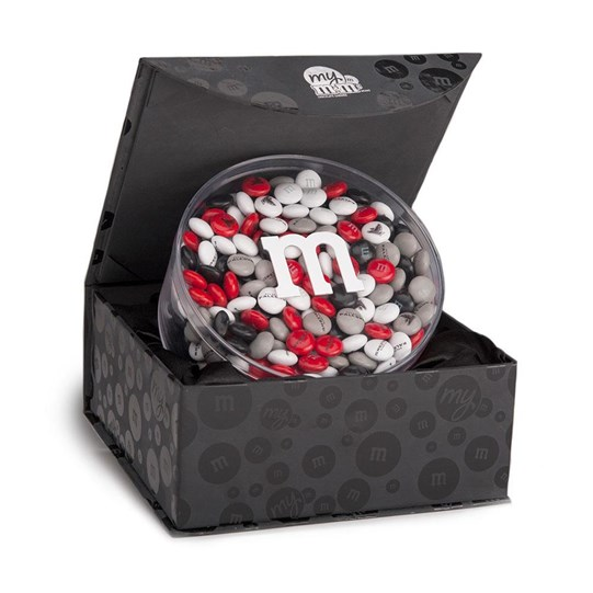 Atlanta Falcons NFL M&M'S Black Gift Box, Front View of Round Acrylic filled with Falcons M&M'S, inside Black Gift Box