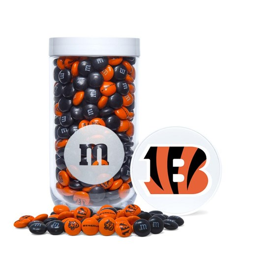 Cincinnati Bengals NFL M&M'S Candy Gift Jar, Front View of Gift Jar & Lid with Bengals Logo
