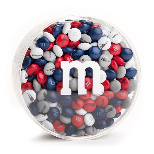 New England Patriots NFL Round Gift Box - Patriots-themed M&M'S fill clear gift box.