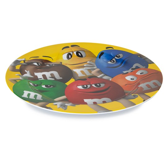 M&M'S All Character Plate, Side View of Yellow Dinner Plate with All 6 M&M'S Color Characters