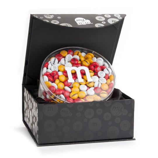 Kansas City Chiefs NFL M&M'S Black Gift Box - Chiefs-themed M&M'S inside gift box.