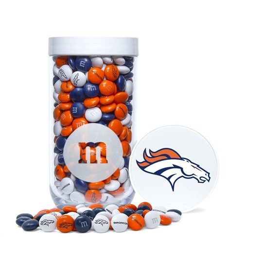 Denver Broncos NFL M&M'S Candy Gift Jar, Front View of Gift Jar & Lid with Broncos Logo