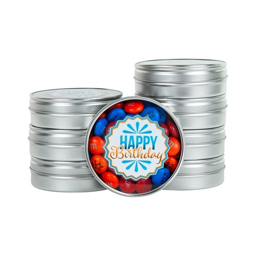 "M&M'S Happy Birthday Favors - Silver tins with ""Happy Birthday"" design printed on each favor lid"