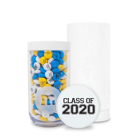 View with cap showing of Personalizable M&M'S Class of 2020 Gift Jar in White Gift Tube