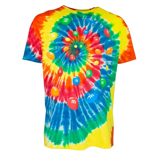 Men's M&M'S Tie Dye Tee, Front View of T-Shirt Showing Tie Dye Pattern & Swirl of Colorful M&M'S Lentils in Center