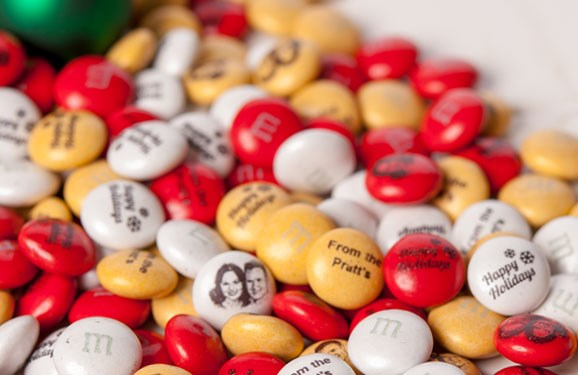 Red, yellow, and white personalized Christmas M&M'S