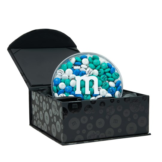 Personalizable M&M'S Black Business Gift Box, Alt View of Round Acrylic Filled with Personalized M&M'S, Inside Black Gift Box