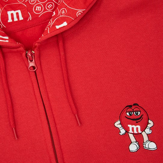 Close up on Logo of Men's M&M'S Character Big Face Fleece