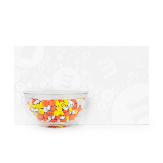 M&M'S Bowl with 1 lb Bag in White Gift Box - Bowl shown on the outside of the box
