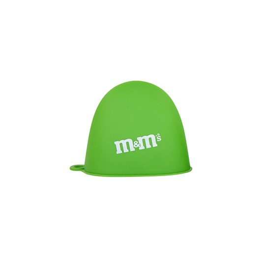 M&M'S Green Silicone Oven Mitt, Alt View of Green Oven Mitt Showing White M&M'S Logo Detail on Side