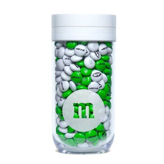 New York Jets NFL M&M'S Candy Gift Jar filled with green and white, Jets-themed M&M'S. Jets logo on lid of jar