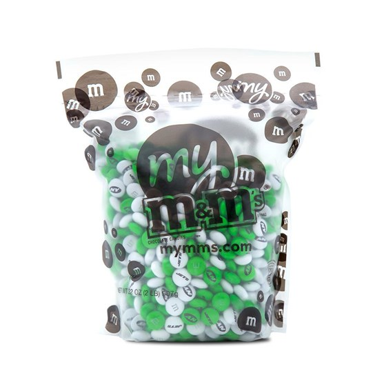 New York Jets NFL M&M'S Bulk Candy, Front View of 2lb Bulk Bag of Jets-themed M&M'S