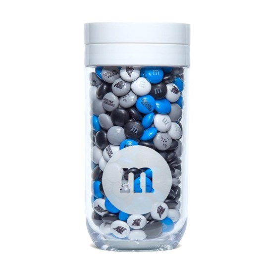 Carolina Panthers NFL Candy Gift Jar, Front View of Gift Jar filled with Panthers M&M'S