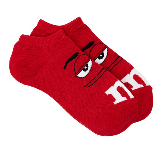 Adult M&M'S Character Ankle Socks, Side View Showing Pair of M&M'S Character Socks