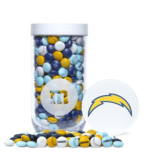 LA Chargers NFL M&M'S Candy Gift Jar - Blue & yellow M&M'S with Chargers clip-art and logo printed on candy.