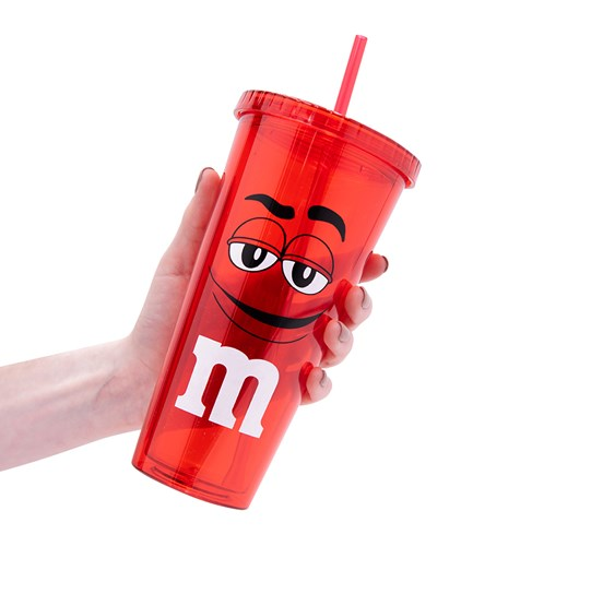 M&M'S Character Big Face Tumbler, Scale View of See-through Tumbler with Character on Outside & Straw for Size