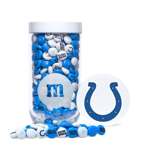 Indianapolis Colts NFL M&M'S Candy Gift Jar - Colts-themed M&M'S inside gift jar. Includes Colts logo/emblem printed on lid.