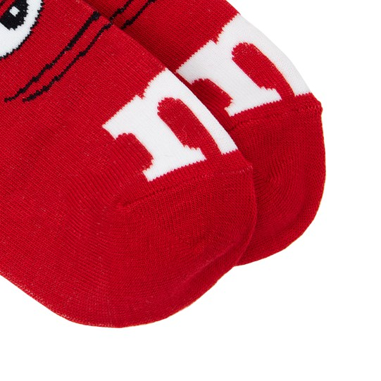 "Adult M&M'S Character Ankle Socks, Up Close View of M&M'S Character Socks Showing ""m"" Logo Detail on Toes"