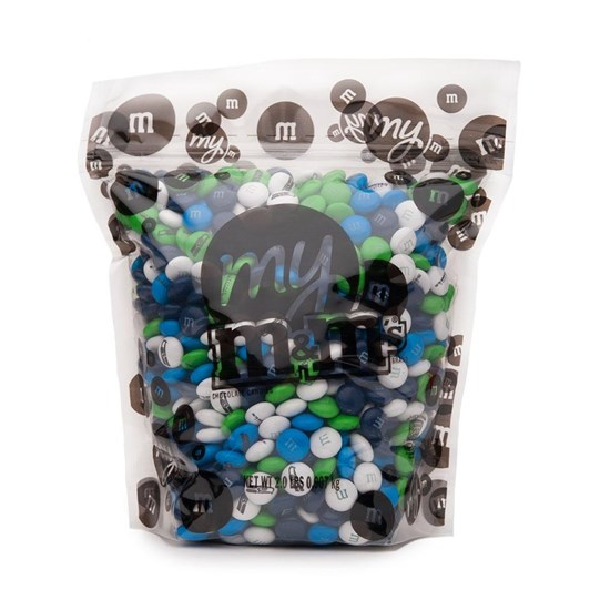 Seattle Seahawks NFL M&M'S Bulk Candy, Front View of 2lb Bulk Bag of Seahawks-themed M&M'S