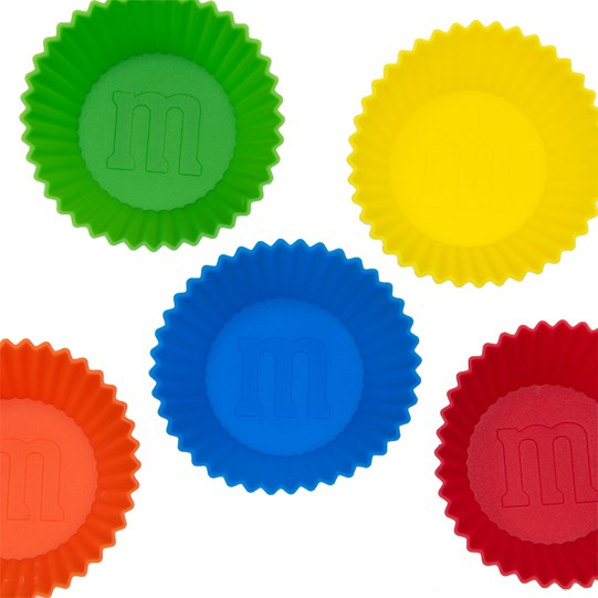 M&M'S Silicone Baking Cups, Birds Eye View of the Inside of Orange, Green, Blue, Yellow & Red Silicone Baking Cups