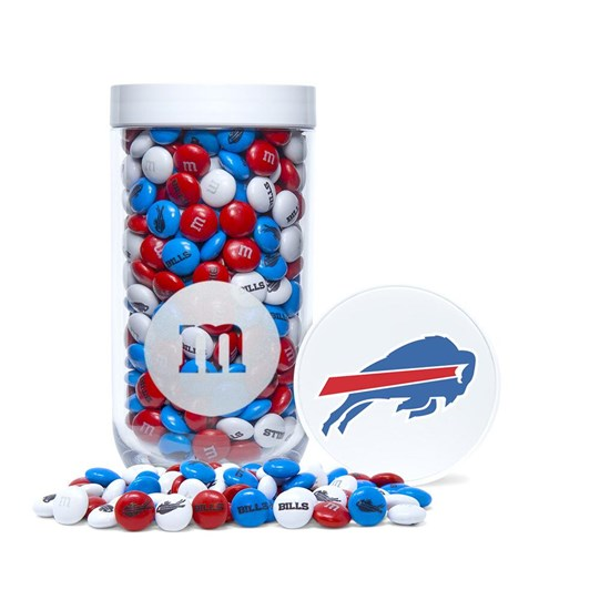 Buffalo Bills NFL M&M'S Candy Gift Jar, Front View of Gift Jar filled with Bills M&M'S & Lid with Bills Logo