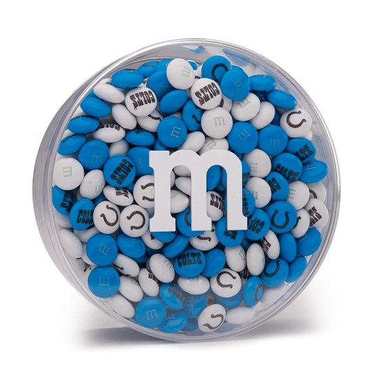 Indianapolis Colts NFL Round Gift Box - Colts-themed M&M'S inside clear gift box with 'm logo.
