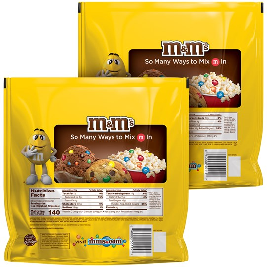 M&M'S Peanut Chocolate Candy, 38 Oz Party Size Bag (Pack of 2), Back View of 2 Party Size Bags of Peanut M&M'S with Nutrition Info.