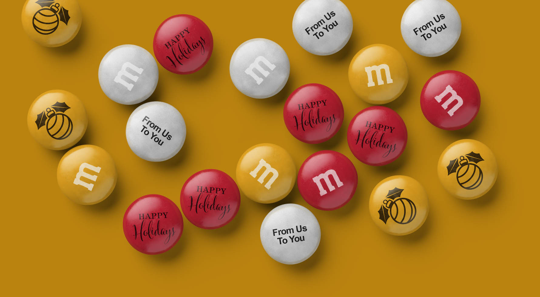 A spill of personalized Holiday-themed M&M'S