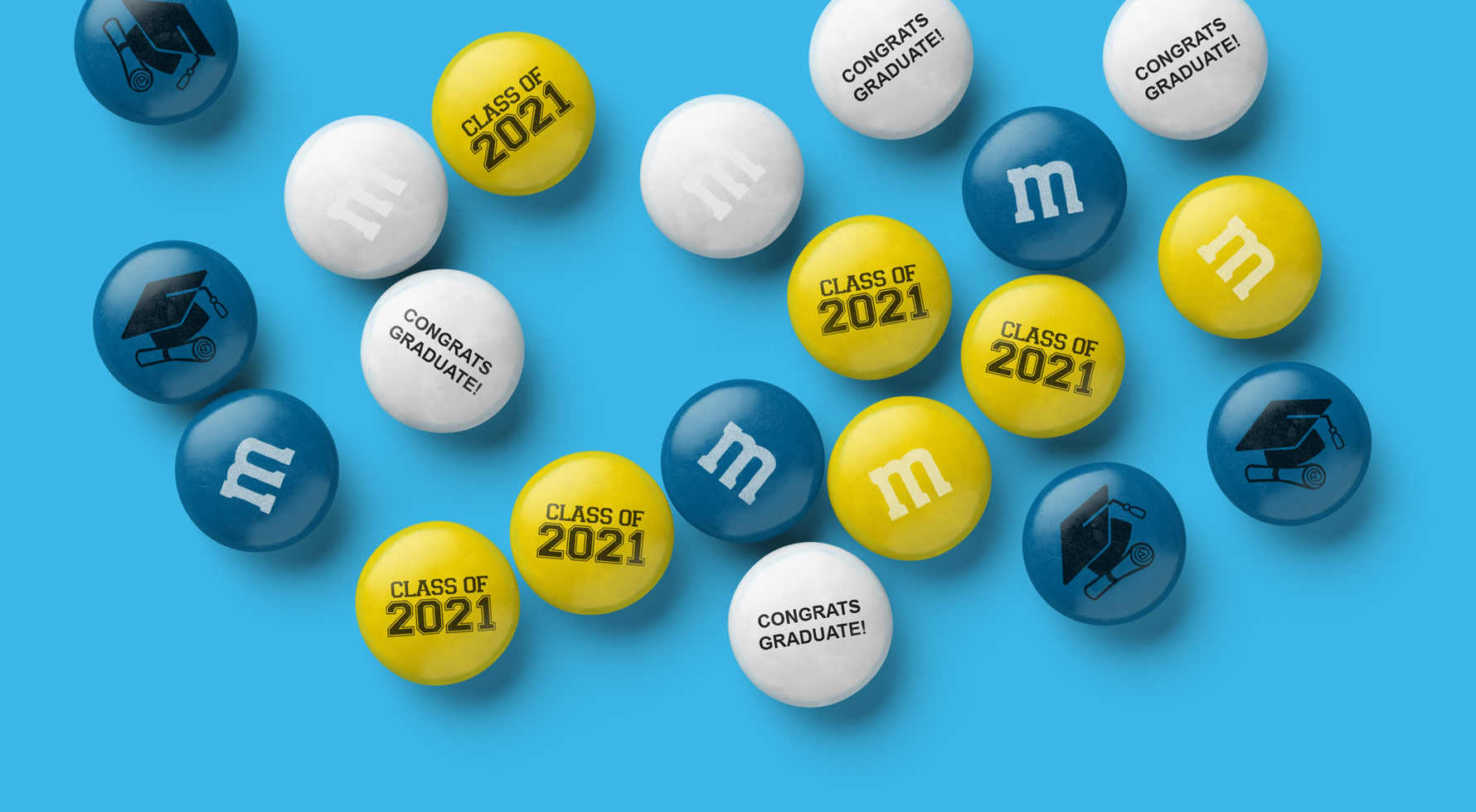 A spill of Class of 2021 themed personalized M&M'S